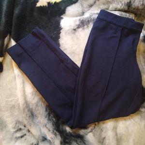 St. John Ponte Knit Seamed Pants Navy